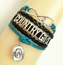 Hat Charms Leather Bracelet- Teal/Black Infinity Love Country Girl With Cowgirl