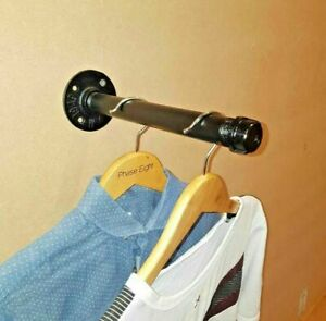 Industrial Pipe Clothes Hanger clothes rail hanging rail Wall mounted Rail Black