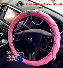 Universal Crystal Crown Pink Foam PU Leather Auto Car Steering Wheel Cover Pink