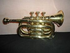 NEW POCKET TRUMPET FOR SALE BRASS CORNET Bb NICE)PITCH PROFFESIONAL W/HARD CASE