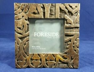 "Foreside Home and Garden 4"" x 4"" Deeply Carved Brown Wood Square Photo Frame"