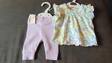 M&S S/Sleeved Floral Top & Leggings Set NEWBORN 50cm Purple Mix BNWT