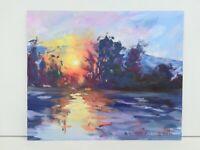 Beautiful sunset over lake sunshine Landscape oils original acrylic painting