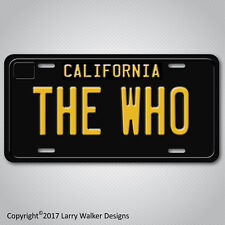 THE WHO Black 1960s Vintage California Aluminum Vanity License Plate Tag