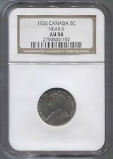 1926 NGC AU58 Canadian 5¢ coin -