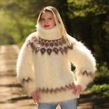 Ivory hand knitt mohair sweater Icelandic fuzzy turtleneck unique Nordic jumper