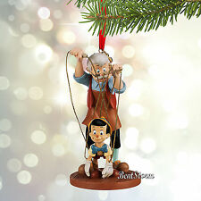 NEW 2015 Disney Store Pinocchio & Geppetto Sketchbook Christmas Ornament BOXED