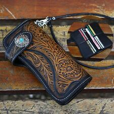 HOT Mens Tan Carved Long Genuine Leather Wallet With Biker Trucker Chain New