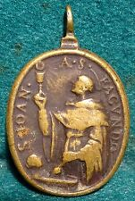 ST JOHN OF ST FACUNDO / BL CLARE OF MONTEFALCO Antiq 18th C. 25x38mm BRASS MEDAL