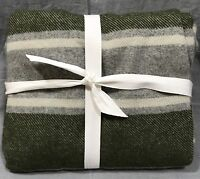 "Pottery Barn PB Teen Moss Green Striped Wool Blend 50x60"" Throw"