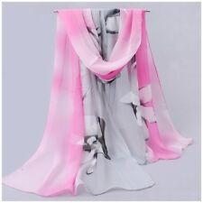 destockage foulard écharpe neuf mousseline de soie orchidées roses grises