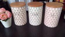 Cute Grey White Purple Slogan Ceramic Tea Coffee Sugar Storage Jars Shabby Chic