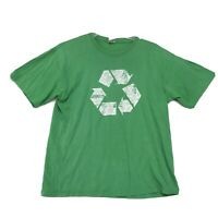 RECYCLE Symbol Distressed Graphic Tee T Shirt Mens L Large Green Short Sleeve