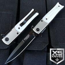 "8"" STILETTO Spring Assisted Knife Slim WHITE PEARL Design Folding Pocket Knife"
