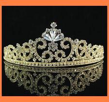 LUXURY CLEAR RHINESTONE TIARA CROWN BRIDAL PARTY WEDDING PROM H671G GOLD TONE