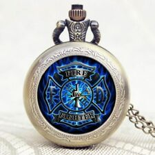 Admirable Fire Fighter Symbol Cool Blue Flame Pocket Watch Necklace Pendant Gift