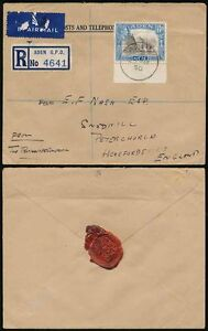 ADEN 1950 TREASURY DATED SEAL REGISTERED AIRMAIL OFFICIAL to PETERCHURCH GB