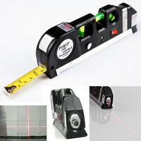 Multipurpose Laser Level Horizon Vertical Measure Tape 8FT Aligner With Ruler