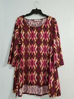 Cato Women's Plus Blouse 3/4 Sleeve Scoop Neck High-Low Multicolor. Size 18/20