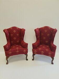 VTG Miniature Dollhouse Bespaq Pair Wing Chairs Cabriole Clawfoot Legs 1:12