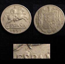 *GUTSE* FRANCO-764, 10 CÉNTIMOS 1953, ERROR (4d), CUÑO EMPASTADO.
