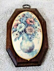 Vintage Domed Floral Ceramic Tile Wood Plaque Hanging Rough Textured Glaze 1950s