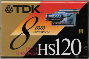 New Factory Sealed (1) TDK HS120 8mm Video 8 Cassette Tape Made In Japan