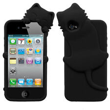 For iPhone 4 4S Rubber SILICONE Skin Soft Gel Case Phone Cover Black Peeking Cat