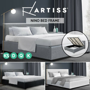 Artiss Bed Frame Queen Double King Single Size Gas Lift Base With Storage NINO