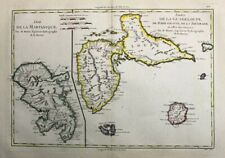1788 Bonne Map of Martinique & Guadeloupe, W. Indies