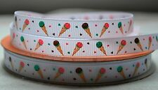 """10mm (3/8"""") LIGHT PINK ICECREAM CONE printed grosgrain ribbon 3mtrs for crafts"""