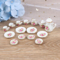 15Pcs Dollhouse Miniature Tableware Porcelain Ceramic Coffee Tea Cups Set T JR