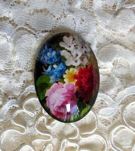 Real Flower Design 30X40mm Glitter Unset Handmade Glass Art Bubble Cameo Cab