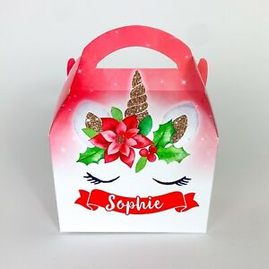 Unicorn Christmas Personalised Treat Box Gift Favour Party Bag