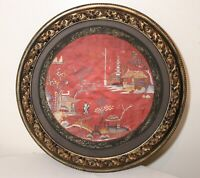 antique framed Chinese Qing dynasty circular needlepoint embroidery tapestry art
