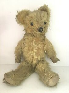 Antique Vtg Knickerbocker ?  Mohair Teddy Bear Jointed Straw Filled Glass Eyes
