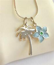Silver Palm Tree Plumeria Necklace Coconut Island Hawaiian Flower Plated USA 18""