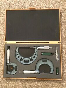 """Mitutoyo Outside Micrometer Set with Case No. 103-217 2-3"""" 136 1-2"""" 135 0-1"""""""