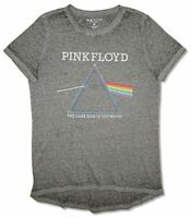 Pink Floyd Burnout Prism Girls Juniors Heather Charcoal T Shirt New Official