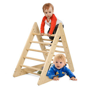 Kids Wooden Climbing Triangle Toddlers Climber Ladder Indoor Gym Playground Toys