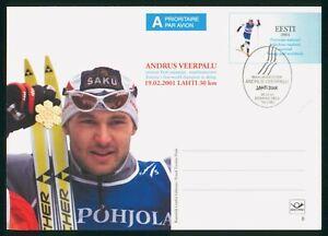 MayfairStamps Estonia Andrus Veerpalu Cross Country Skiing 2001 Stationery Card