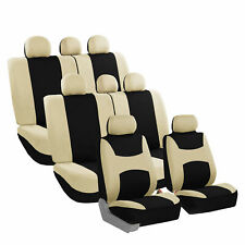 Car Seat Covers for Auto SUV Van Truck 3 Row - 12 Pieces - Beige
