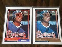 1992 Topps Base and Topps Gold Baseball #645 Deion Sanders Atlanta Braves MLB