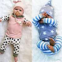3PCS/Set Newborn Baby Boy Girl Long Sleeve T-shirt Tops+Pants+Hat Outfit Clothes