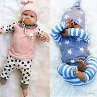 3PCS/Set Newborn Baby Boy Girl Long Sleeve T-shirt Tops+Pants+Hat Outfit Clothes