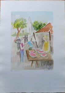 Eliano Fantuzzi incisione colorata a mano Banco di Cocomeri 70x50 firmata 98/100