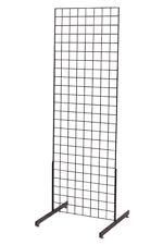 """Gridwall Panel 2' x 6' Grid Wall Display Black 2 Legs Stand Fixture Metal 3"""" Oc"""