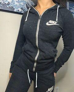 Nike Women's Sportswear Gym Vintage Sweatsuit Full Zip Hoodie Capris S Gray