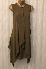 Karen Millen Geometric Hem Khaki Fluid Tunic Drape Tunic Shirt Dress 10 38 New