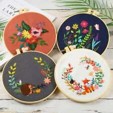 4 Pack Embroidery Starter Kit with Pattern and Instructions - Cross Stitch Set